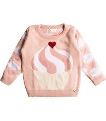 casaco suéter tricô mini lady cupcake rosa - kanui