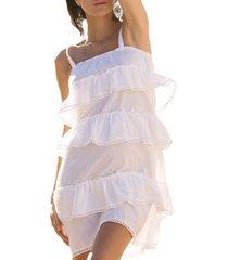 korte jurk admas zomerjurk met witte ruches adma's