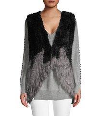 colorblock faux fur vest