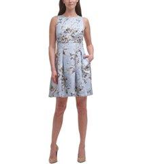 vince camuto jacquard sleeveless fit & flare dress