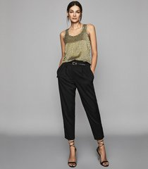 reiss remey - spot print silk front vest in khaki, womens, size xl