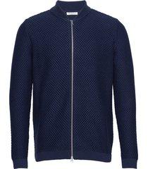 field zip cardigan knit - gots/vega gebreide trui cardigan blauw knowledge cotton apparel