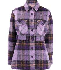 andamane evita belted shirt jacket - purple