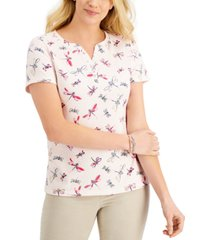 karen scott dragonfly split-neck top, created for macy's