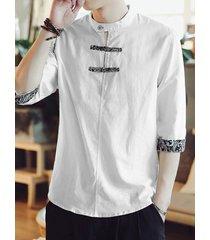 incerun hombre cuello alto frontal con botón estampado tribal camisa
