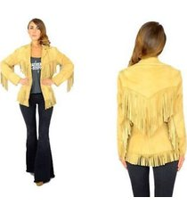 woman western cowboy leather jacket yellow fringes xs to 5xl