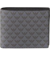 emporio armani grey and black leather wallet with monogram