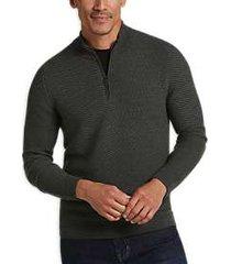 joseph abboud olive wool blend 1/4-zip sweater