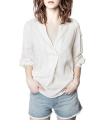 women's zadig & voltaire travela raye stripe linen blouse, size x-small - ivory