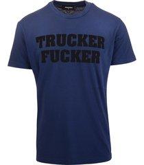blue trucker fucker man t-shirt
