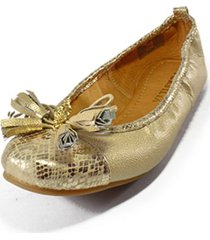 baleta cuero dorado flecos versilia eucalipto