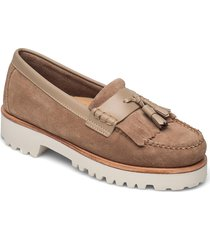 gh weejun 90 esther velour loafers låga skor beige g.h. bass