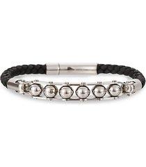 andrew silvertone & leather beaded bracelet
