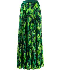 mr & mrs italy camo print pleated skirt - green