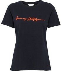 alissa regular c-nk tee ss t-shirts & tops short-sleeved svart tommy hilfiger