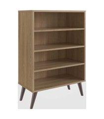 estante retrô com 4 prateleiras oak completa móveis