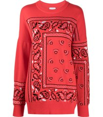 barrie bandana paisley cashmere jumper - red