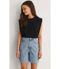 na-kd ekologiska shorts med hög midja och rå kant - blue
