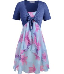 plus size knot top and floral chiffon dress
