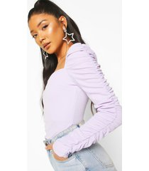 crepe square neck ruched sleeve top, lilac