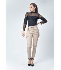 pantalon dril dama beige di bello jeans ® classic jeans ref d960
