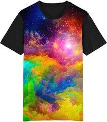 camiseta tshirt migian galáxia rave sublimada colorida preto