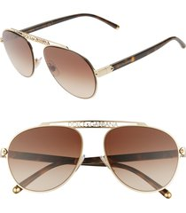 women's dolce & gabbana 57mm gradient pilot aviator sunglasses - gold/ brown gradient