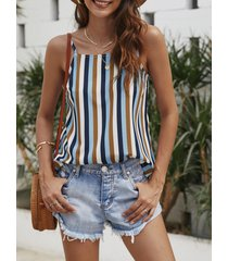 yoins multi color stripe spaghetti strap square cuello camisola