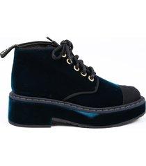 chanel blue velvet cap toe combat ankle boots blue/logo sz: 5.5