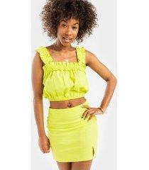 danney side slit mini skirt - yellow