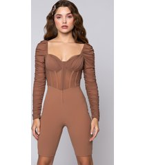 akira say no more romper with ruched long sleeves