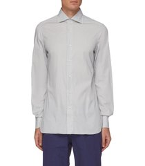 french collar micro stripe cotton blend shirt