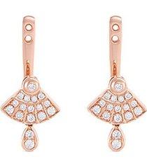'art deco' diamond 18k rose gold earring jackets