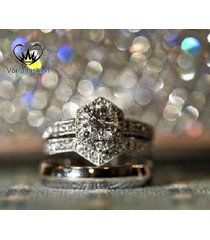 bride & groom trio ring set 14k white gold plated 925 silver round cut diamond
