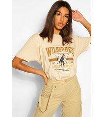 gebleekt 'wilderness' t-shirt met opdruk, zand