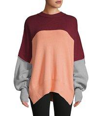 colorblock cotton-blend sweater