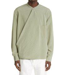 men's lemaire wrapover long sleeve silk blend shirt, size large - green
