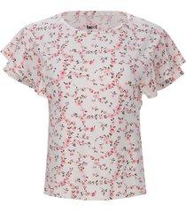 camiseta floral con arandelas color blanco, talla 10