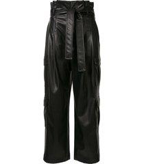goen.j faux-leather tie waist trousers - black