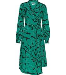 aylingz wrap dress ma19 jurk knielengte groen gestuz