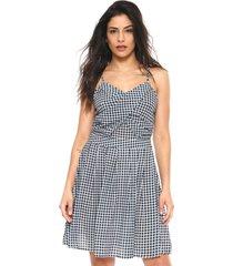 vestido lily fashion curto xadrez azul-marinho/branco