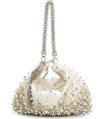 jimmy choo callie crystal and pearl-embellished clutch bag - neutrals