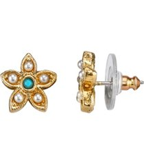 downton abbey gold-tone simulated pearl and imitation turquoise flower button earrings