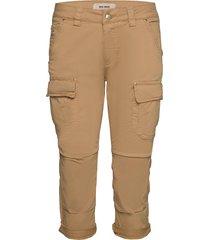 cheryl cargo 3/4 pant pantalon met rechte pijpen beige mos mosh