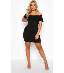 plus strakke mini jurk met boothals, ruches en textuur, zwart
