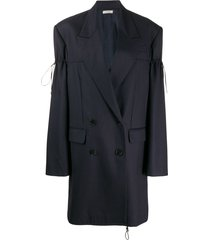 nina ricci pinstripe drawstring toggle blazer coat - blue