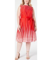 anne klein plus size cotton printed a-line dress