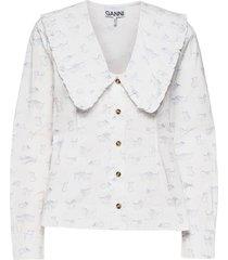 printed cotton poplin blouse lange mouwen wit ganni