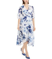 calvin klein printed chiffon surplice dress