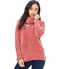 sweater chenille cuello alto rosa oscuro corona